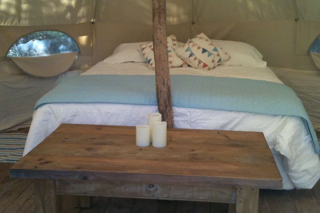 Kingsize bed in your luxury tent