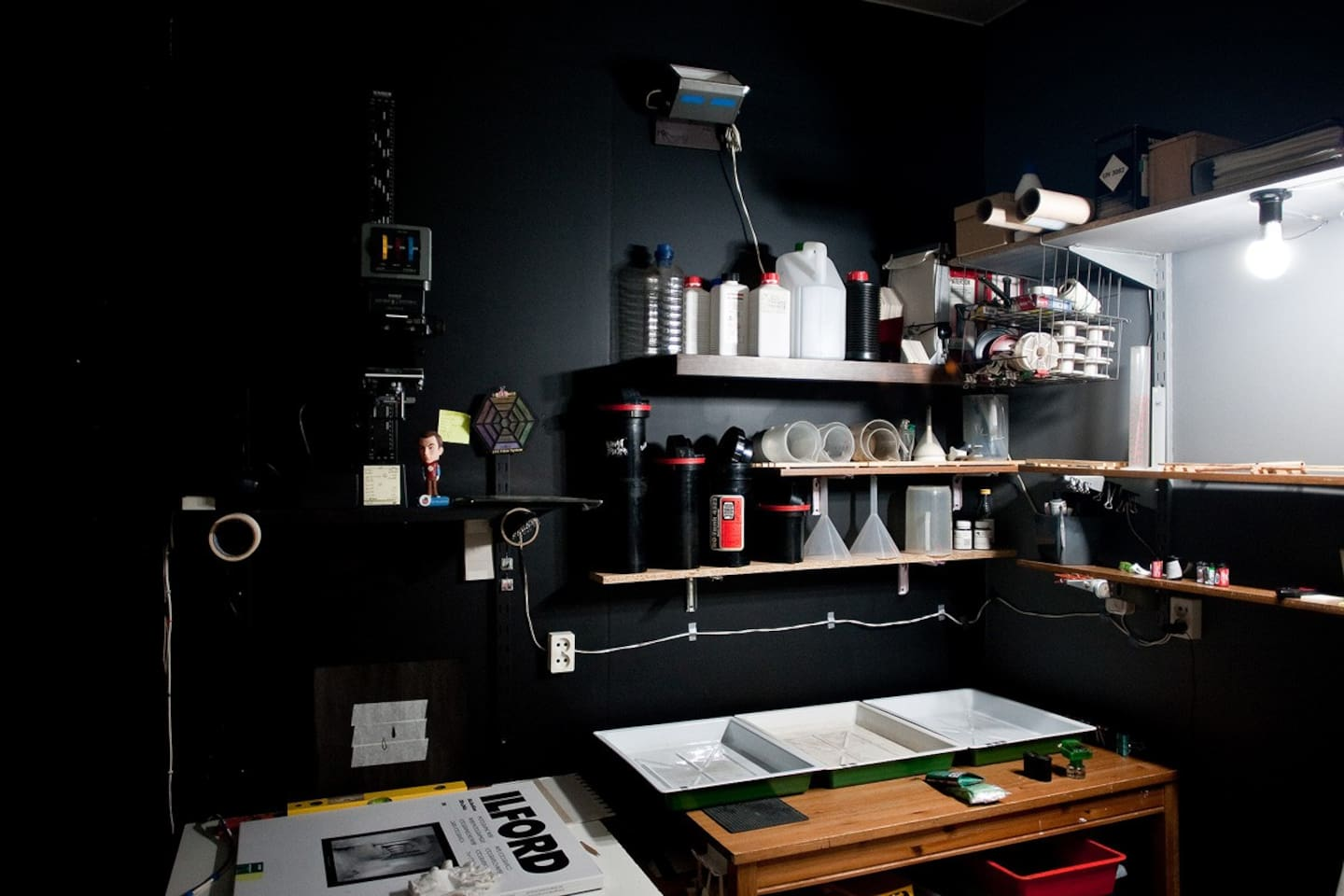my room and photo lab, here I am developing films, I print photos and I live