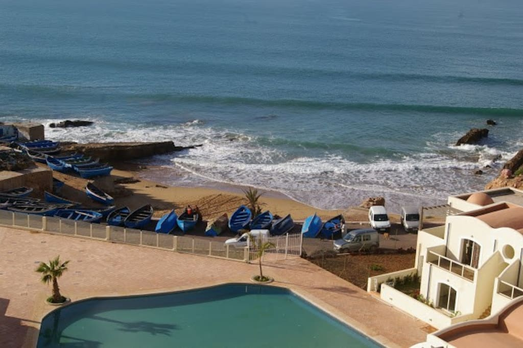 The beach and pool area.