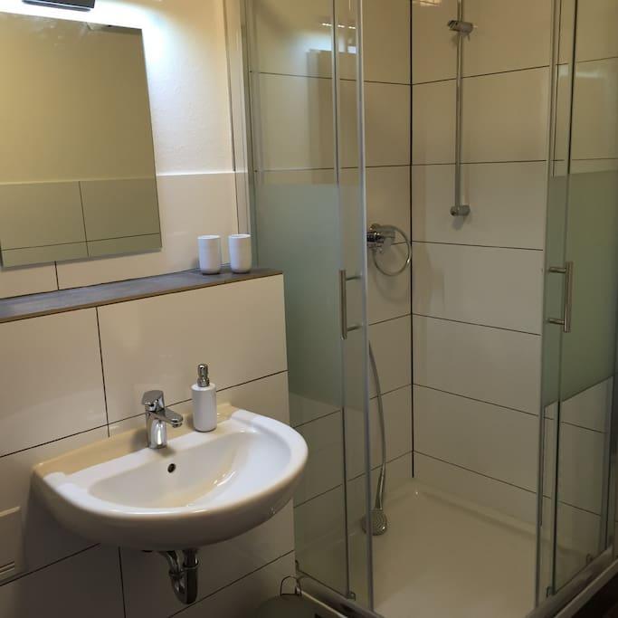 Dusche mit Glasschiebetüren WC und Waschbecken