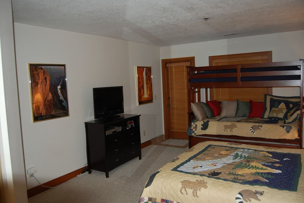 Large Master Bedroom with attached bath!  Bunk bed with trundle.