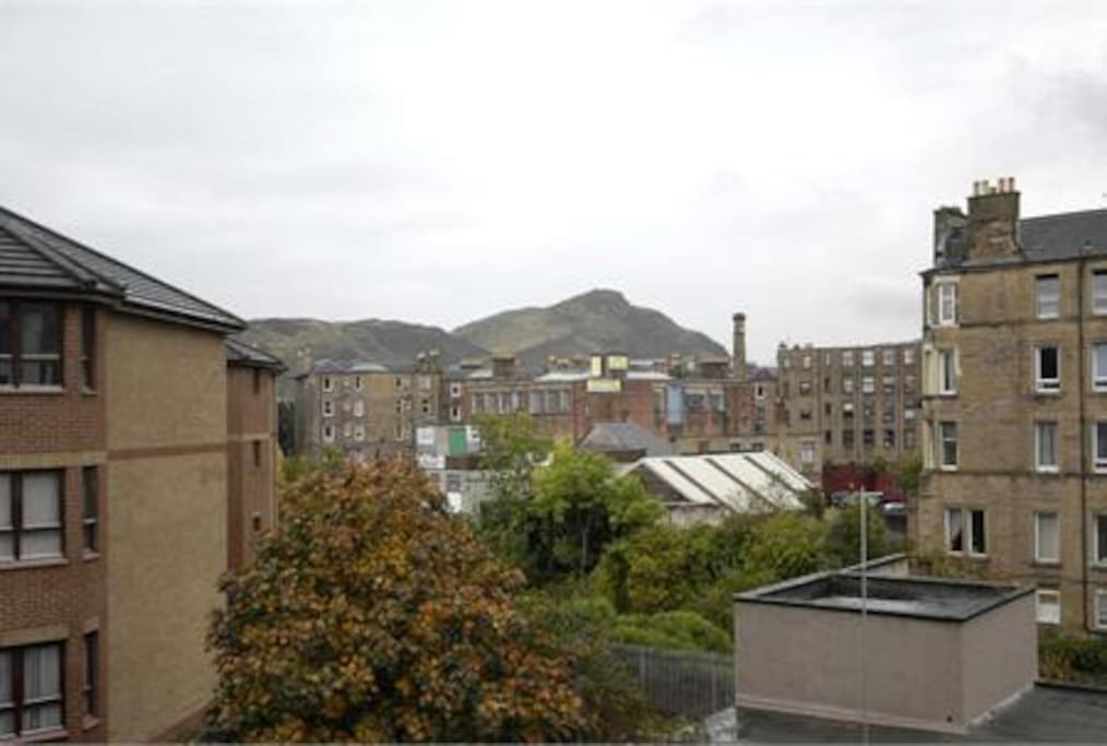 Arthur's Seat as seen from the living room and both bedrooms.