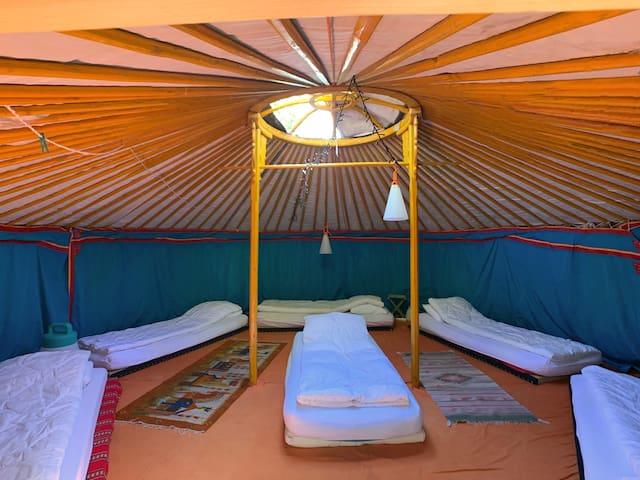 L'intérieur de la Yourte est spacieux, on peut aussi y dormir au moins à 6 sur des futons confortables. C'est aussi un lieu pour se détendre, se reposer ou méditer.