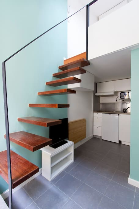 Stairs to room in mezzanine
