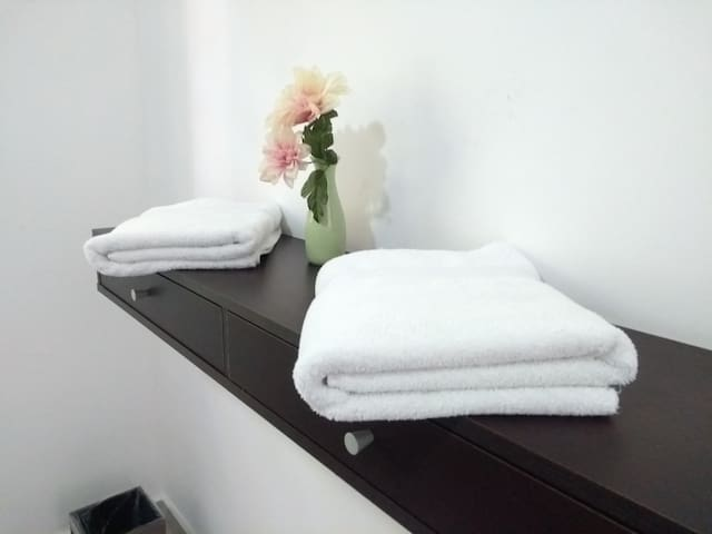 We provide bathroom towels for all guests.  Toallas de baño individuales para cada huésped.