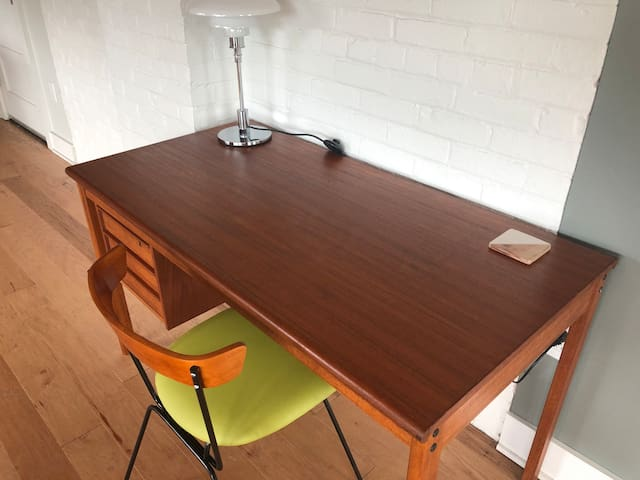 Antique mid-century desk / work area in unit.