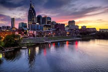Beautiful downtown Nashville! A short walk right to Broadway and all other action! This view is from the pedestrian bridge.