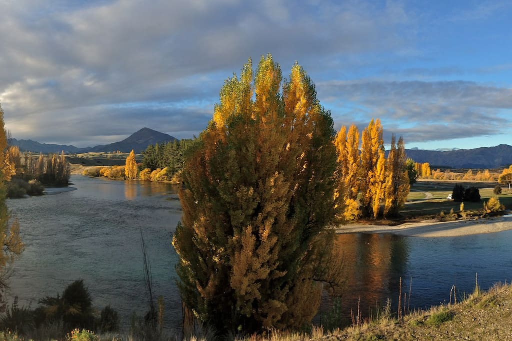 View over the Clutha River from the reserve in front of house in Autumn