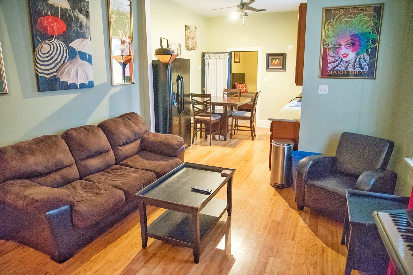 Living room with pullout sofa. Home located in the heart of historic New Orleans