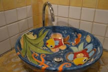 hand made washbasin from sicilian painter