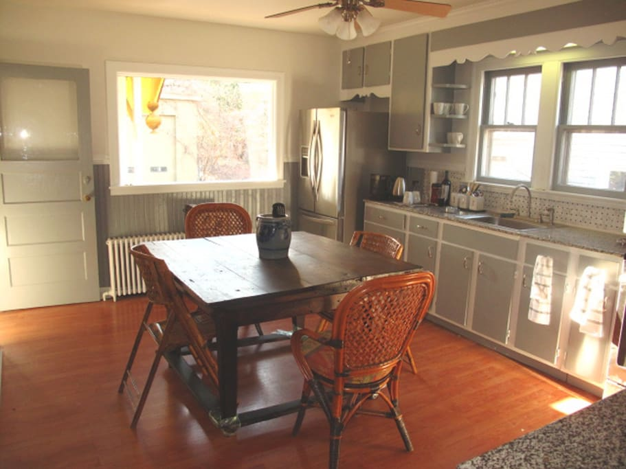 Large Sunny Kitchen with Attached Porch Dining Room