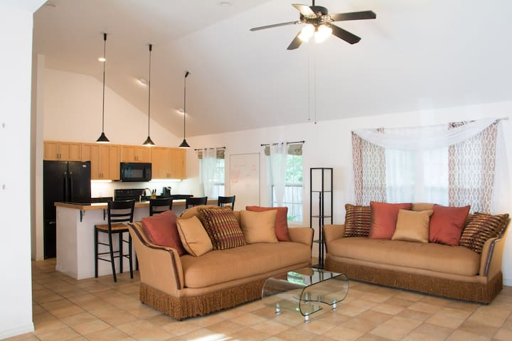In the main living room we have two luxurious, over-sized couches for your enjoyment and comfort.