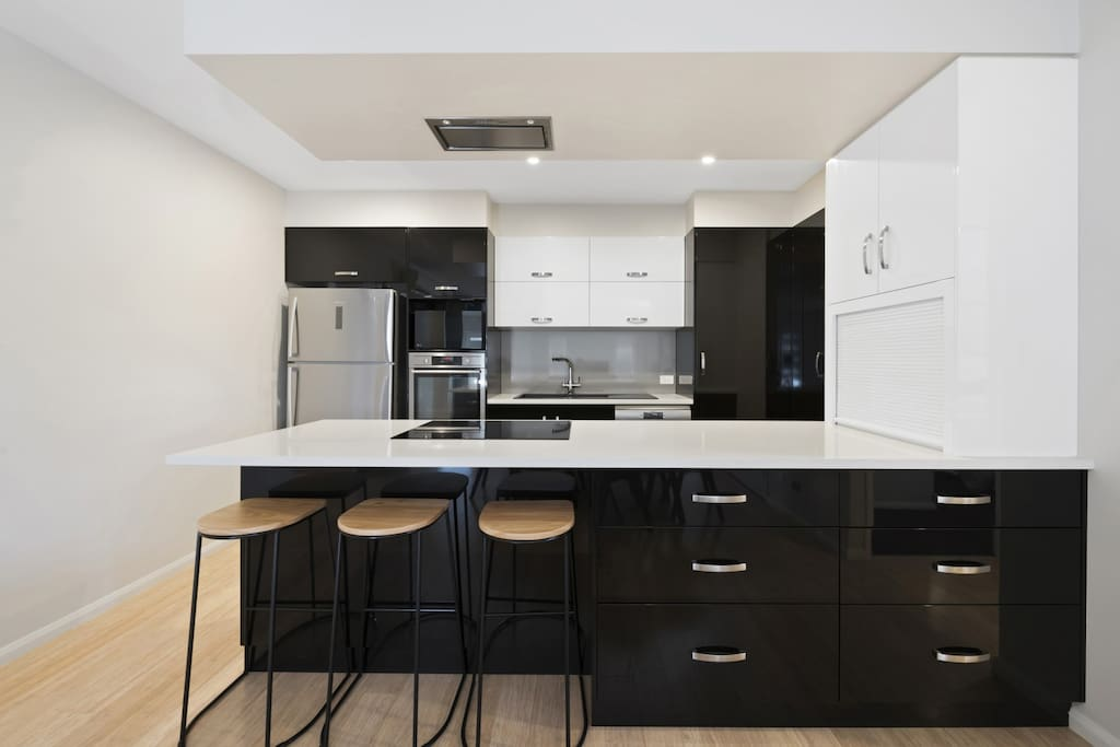 Modern kitchen and appliances including Nespresso coffee for our guests