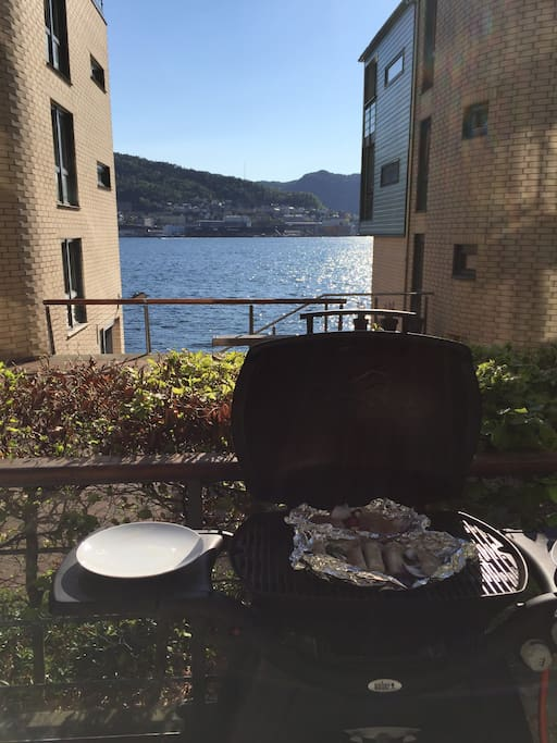 Barbecuing with sea view.