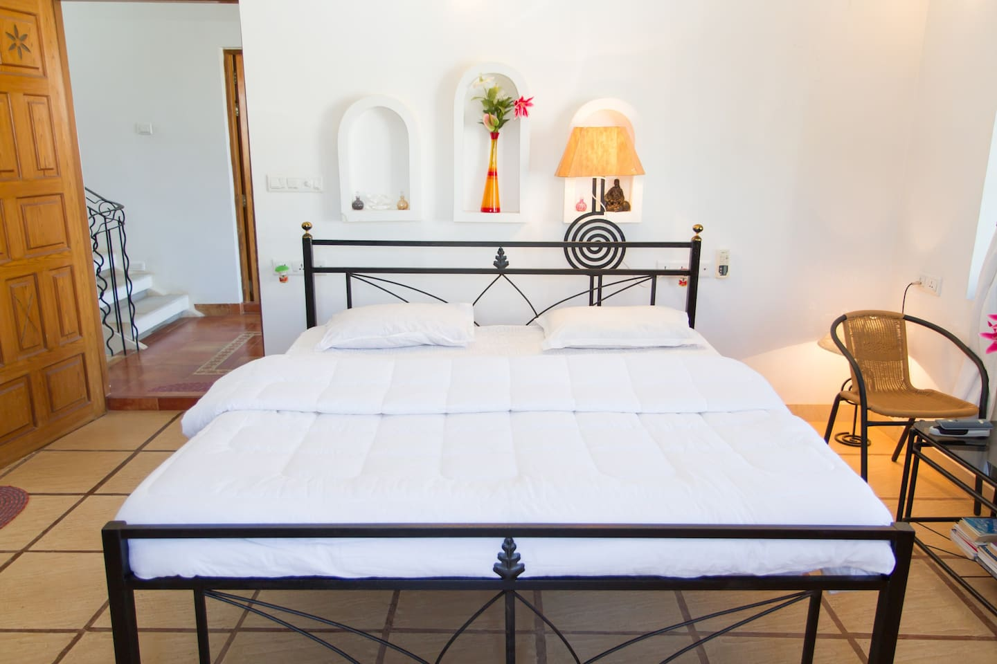 NOTICE THE SPECIAL FURNITURE AND THE SPECIAL BED. NEED MORE PILLOWS/MATTRESSES/LINEN? ASK