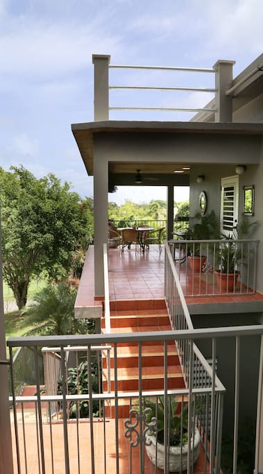 covered deck with ocean views