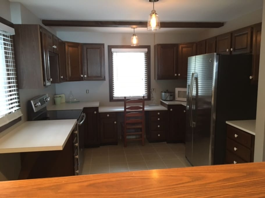 Kitchen is just off living room and has new appliances.  The home also has a new water filtration system and water softener.