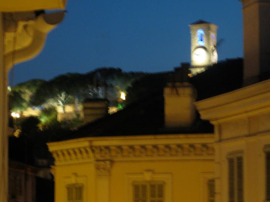This is the spectacular view of the clock tower of Le Suquet from the terrace at night.