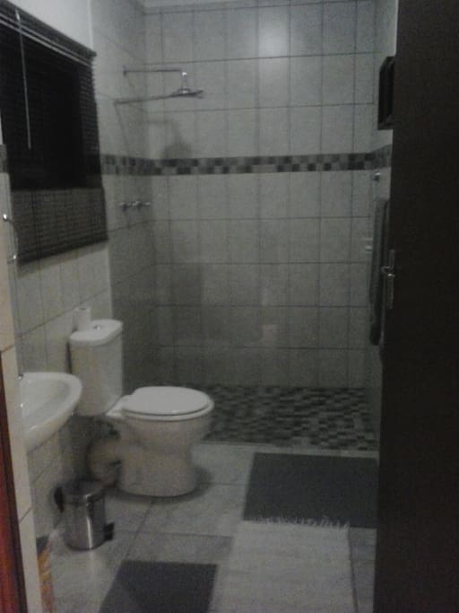 Shower, toilet, basin