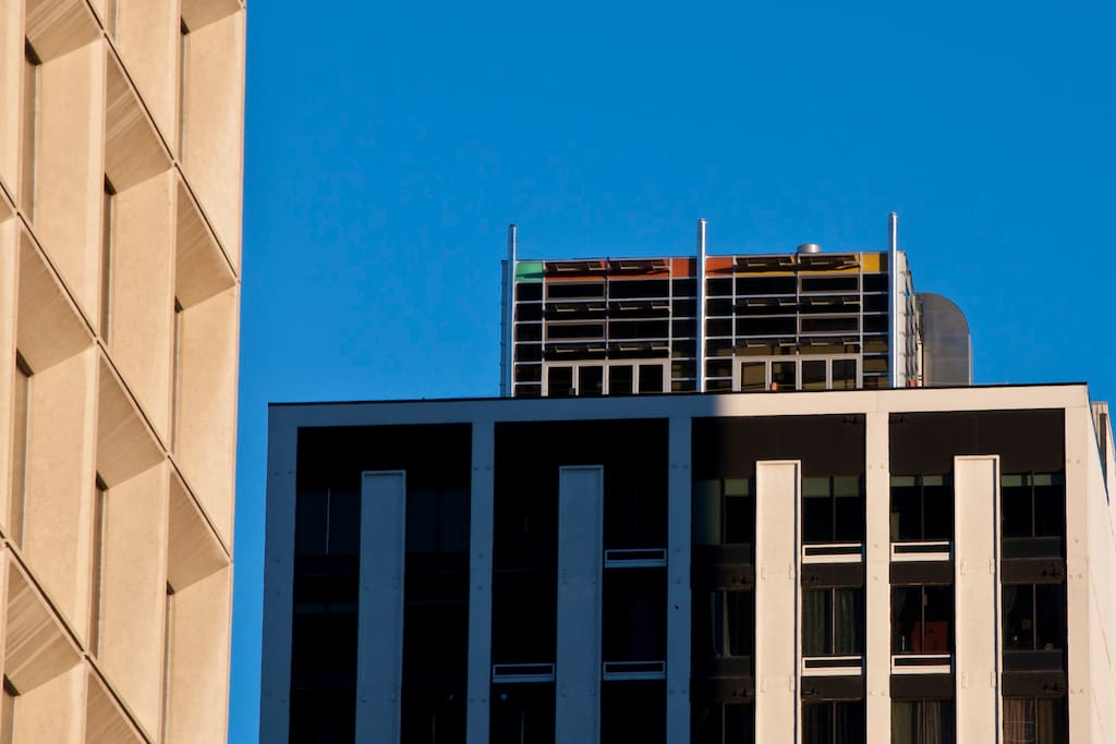 Our colorful penthouse is visible from all over the downtown