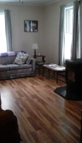 Living room with pull out sofa, pellet stove and small tv