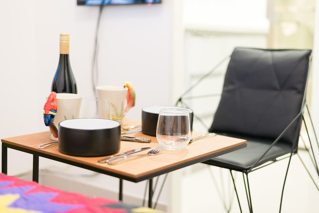 Enjoy a drink and snack at the apartment.