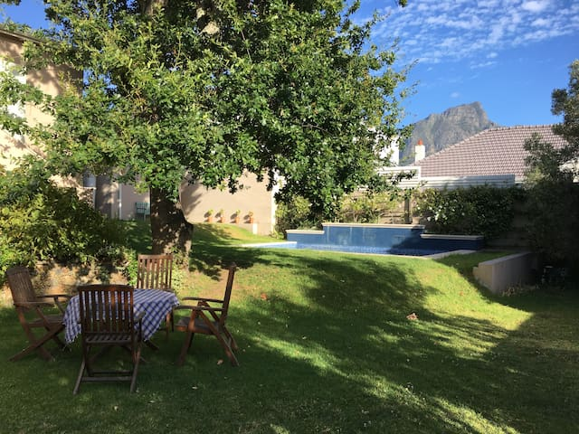 Large back garden with view of Devils Peak (Table Mountain)
