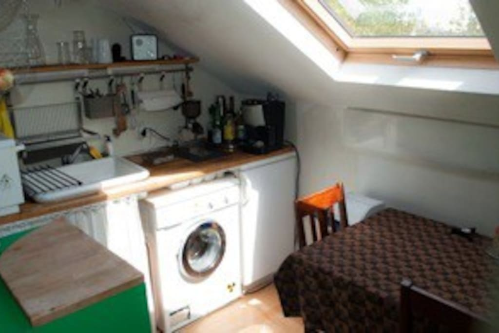 kitchen: washing machine, dish washer, stove