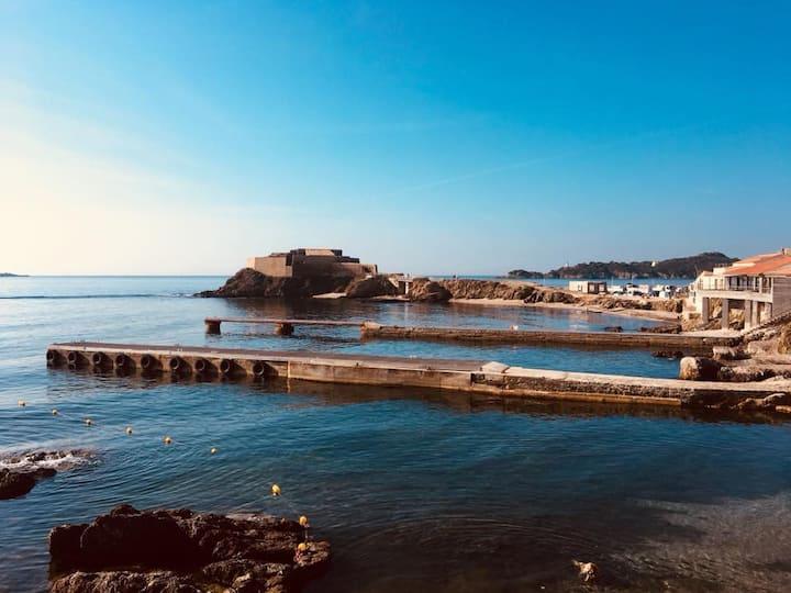 3P vue mer 50m2 Presqu'île Giens piscine parking