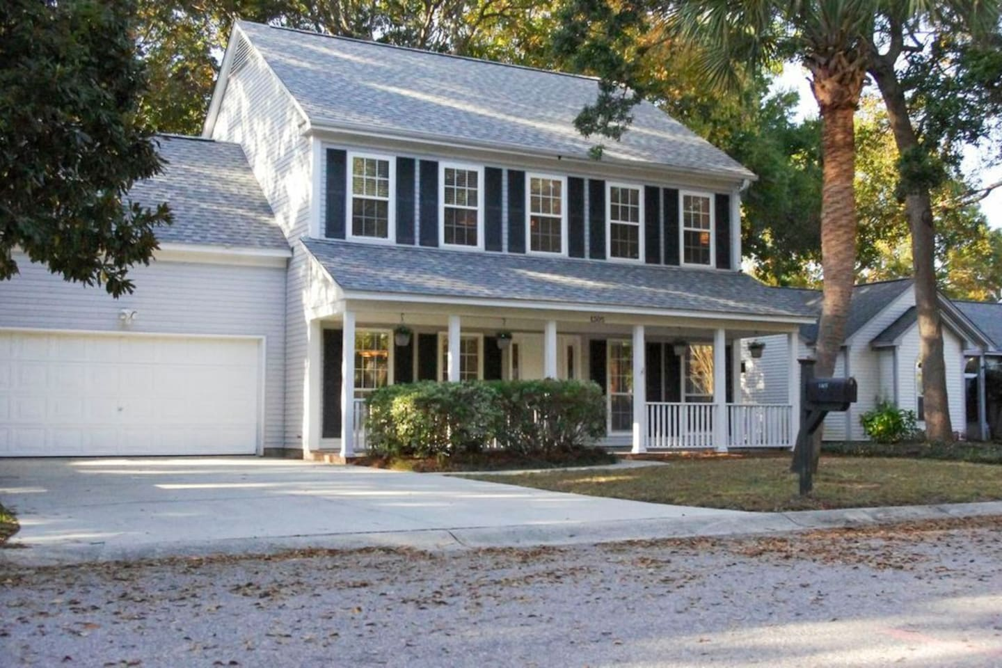 Quiet neighborhood and has 2 car garage with ample parking
