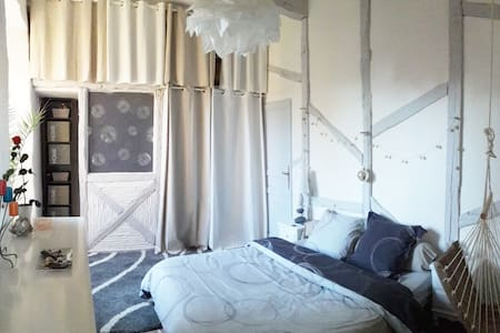 Chambre de charme grise dans manoir