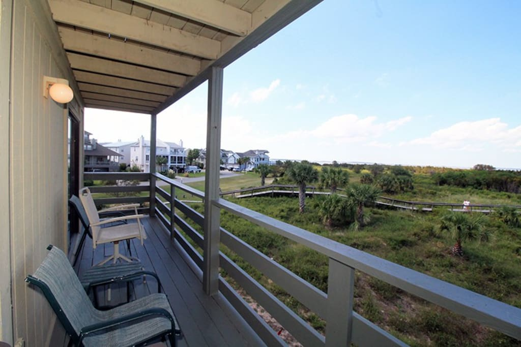 Enjoy spectacular views of the Savannah River Entrance and Atlantic Ocean, ocean breezes, ship and dolphin watching and beautiful sunrises and sunsets