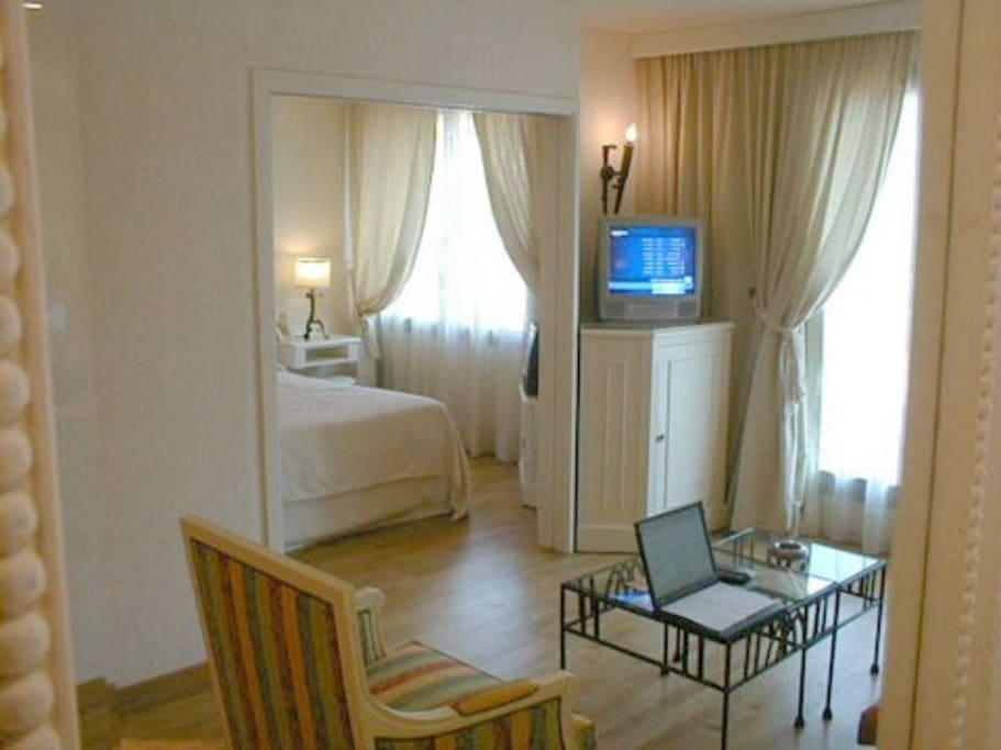 Salon donnant sur la terrasse et la chambre