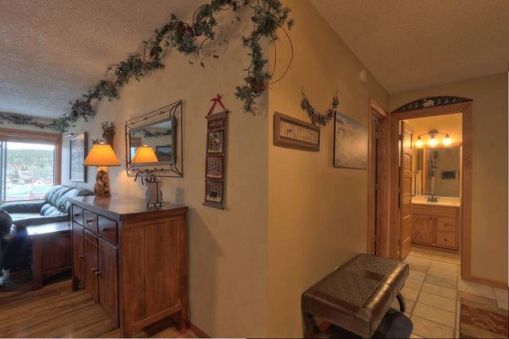 Entry to condo.  Big closet to store boots and skis. Condo is large - 810 square feet.