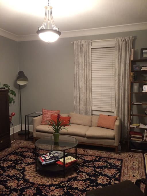 The cozy living room is a great place to relax and find community.