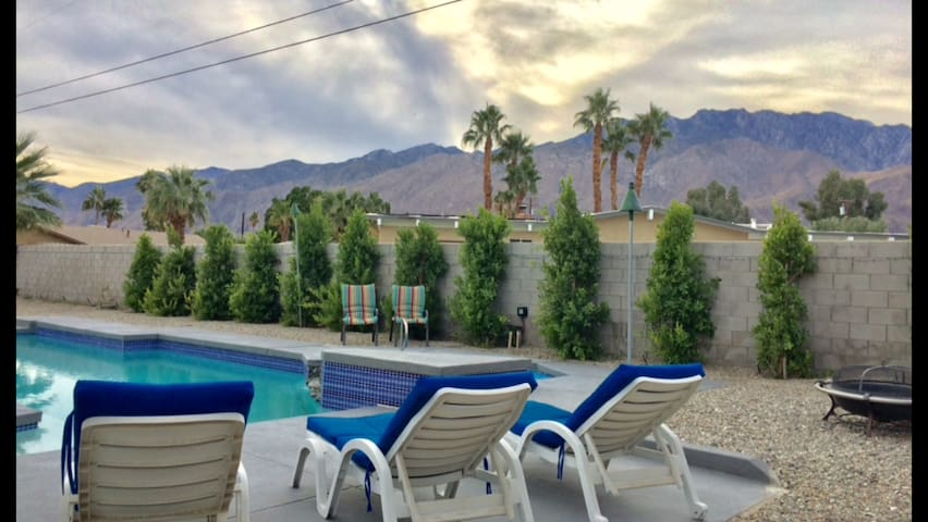 Back yard. Salt water pool and spa with daytime mountain views to the West...