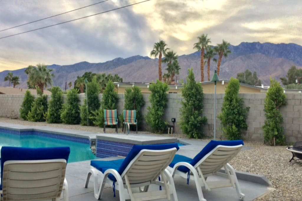 Back yard. Pool and spa with daytime mountain views to the West...