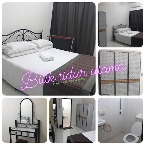 Master bedroom with attach bathroom. Large cupboard and air condiiton
