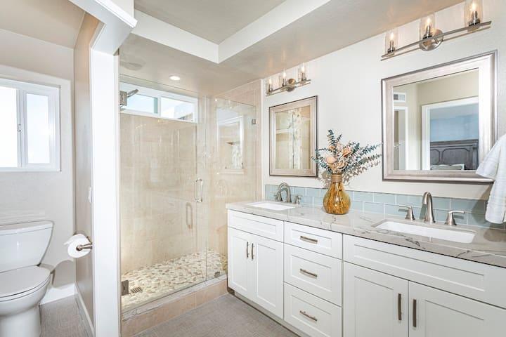Master bathroom, Pebble shower, Double sinks