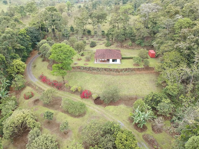 Sky view of the house, such a paradise place. The property has several fruit trees, what makes it a perfect spot for birds such a toucans and hummingbirds
