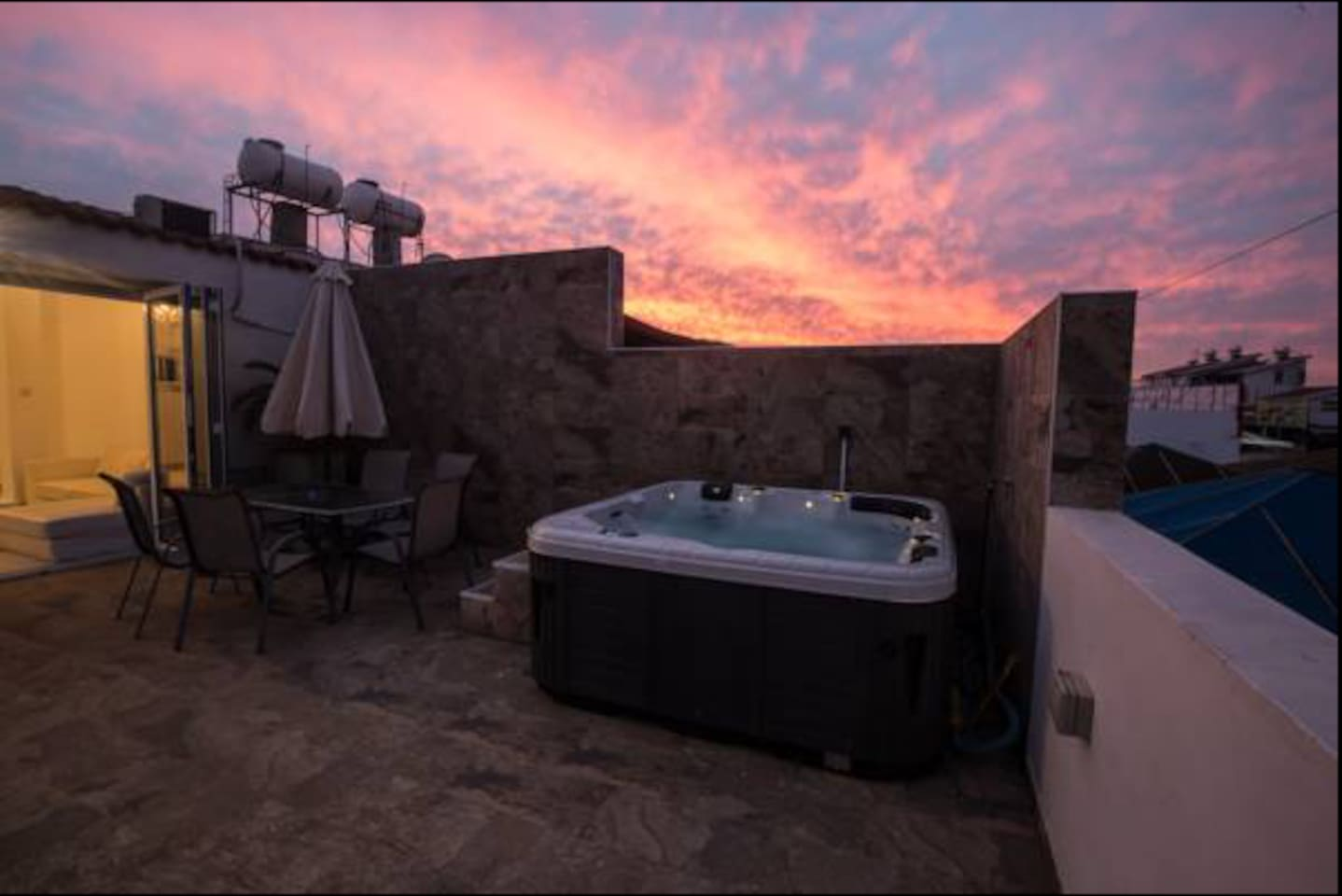 Our outdoor heated jaccuzi
