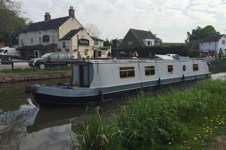 Peaceful Narrow Boat on the Trent and Mersey Canal