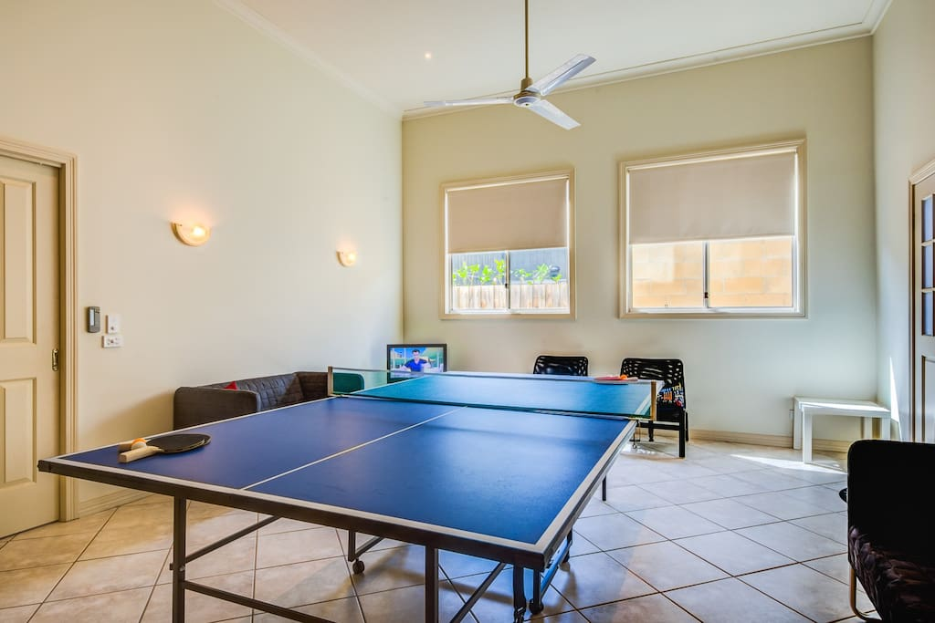 Table-tennis table in the games room...