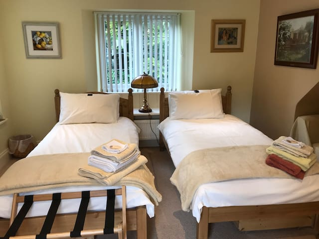En suite room for up to 3 in cosy village cottage.