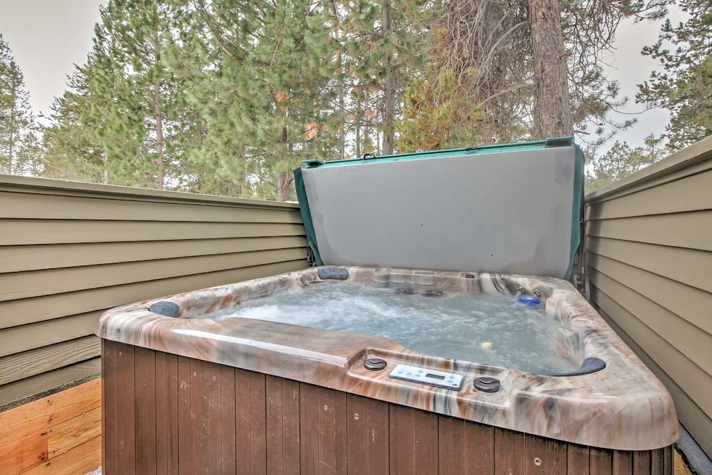 Soak your cares away in the hot tub.