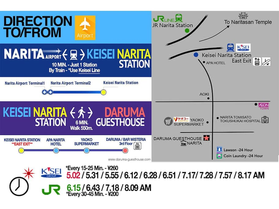 Direction - Begin with Keisei Narita Station - East Exit!!!