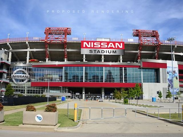 Nissan Stadium. Walk just across the pedestrian bridge!