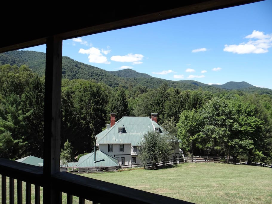 This is the view from the covered front porch of the Cherokee Cabin.