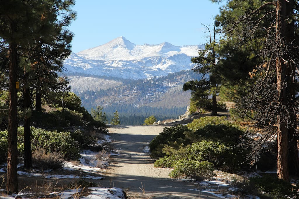 View from front yard of Needle Peak in Desolation Wilderness