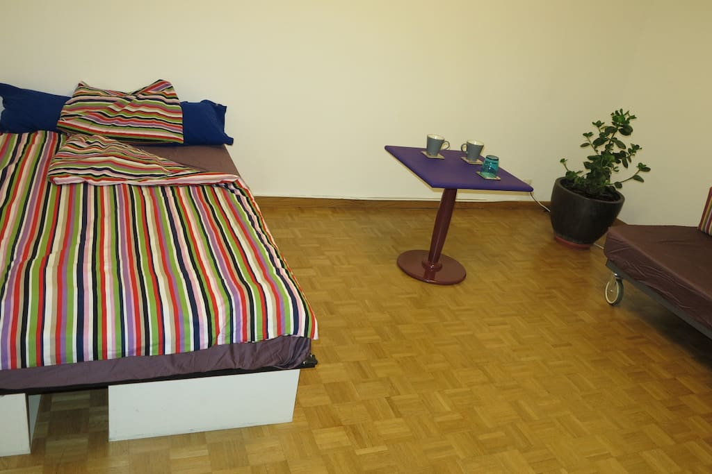 Double bed, new matress with underside storage, 140cm wide by 200cm long.